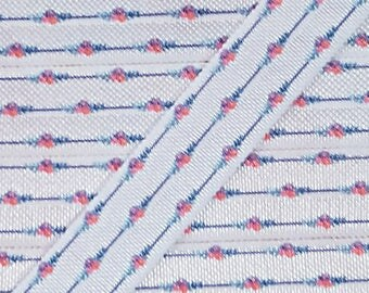 5/8 Dainty Navy Stripes with Pink Flowers Fold Over Elastic