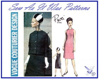 "1960s VGC Vogue Couturier Design 1418 Pucci Sleeveless Dress & Collarless Kimono Sleeve Jacket Vintage Sewing Pattern Size 14 Bust 34"" 87cm"