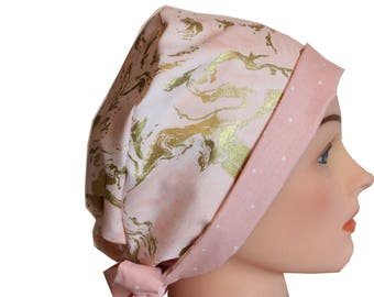Medical Hat Surgical Scrub Cap Chemo Vet Nurse Dr Hat Front Fold Pixie Style Pink Gold Marble   2nd Item Ships FREE