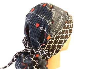 Surgical Scrub Hat Scrub Chef Vet Chemo Cap Front Fold Ponytail Scrub Hat EKG Calling  All Nurses Black Quaterfoil 2nd Item Ships FREE