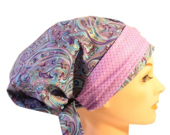 Scrub Hat Cap Chemo Bad Hair Day Hat  European BOHO Banded Pixie Tie Back Blue Paisley Soft Purple Band  2nd Item Ships FREE