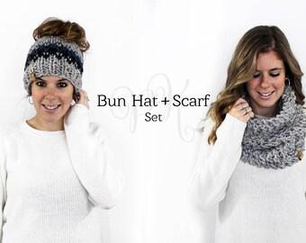 Messy Bun Hat Scarf Set Knit, Ponytail Hat Set, Matching Hat Cowl