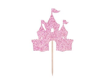 Castle Cupcake Toppers-ANY Glitter Color