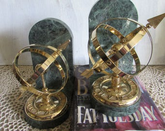 Armillary Sphere Brass Bookends Green Marble Globe Sundial Arrow with Roman Numerals.