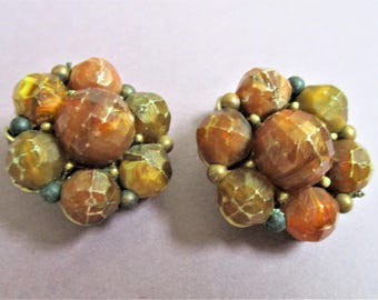Vintage Kramer Earrings Cluster Bead Earrings Amber and Chocolate Earrings Fashion Designer Clip On Earrings Vintage Classic Costume Jewelry