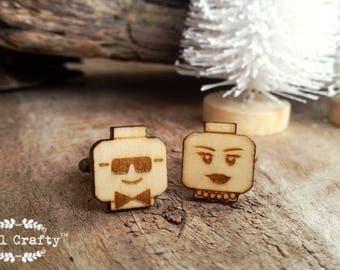 Lego Groom Bride Wooden Cufflinks Man Woman Head Dad Grooms Best man Groomsman Rustic Wedding Birthday Gift Cuff links