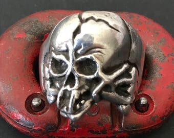 Authentic 1940's Biker Motorcycle Lifestyle Sterling Silver Skull Ring