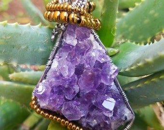 Wire wrapped Amethyst cluster pendant.