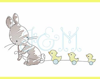 Bunny with Duck Pull Toy Sketch Vintage Stitch Machine Embroidery Design