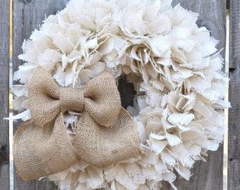 "17"" Burlap Wreath, Wedding Wreath, Everyday Wreath, Rustic Wreath, White Wreath, Rag Wreath"