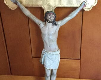 Architectural Salvage Detailed Antique Folk Art Christ On Cross Santos, Religious Relic, as found