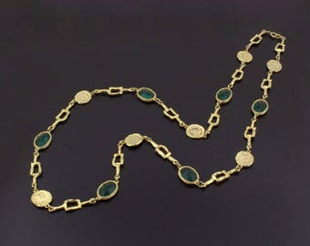 Chic Vintage 1980s Chicklet Necklace Sautoir Green Open Back Bezel Set Crystal Glass Gold-Tone Coins Gold Chain Designer Inspired