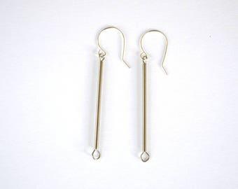 Minimalist Silver Bar Drop Earrings