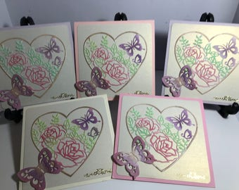 Box of 5 Butterfly love themed cards