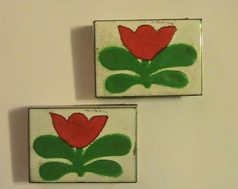 Match Case, Match Holder, 2 Metal and Enamelware coated tops, W. Germany Match Holders, Small Match Box Holders