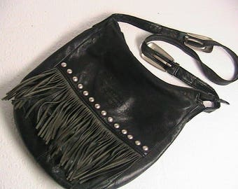 Genuine Harley Davidson Fringe Black Leather Purse, Vintage Harley Davidson Bag/Purse/Shoulder Bag