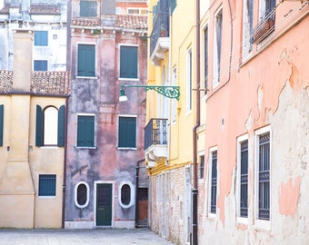 Venice, Italy, Terracotta walls, Yellow Buildings, Green Shutters, Terracotta Roof, European Architecture, Venice Photography