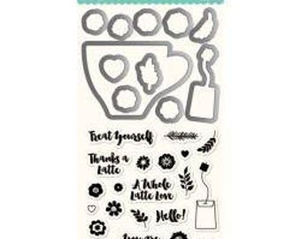 Jillibean Soup Stamp & Die Set LATTE LOVE Shaker Card Maker Set Clear stamps by Hampton Art JB1325 - 1.cc02 SD018