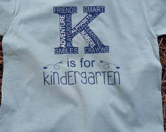 Back to school. Kindergarten. Boys. Girls shirts.
