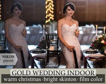 Preset wedding gold lightroom preset bright indoor lightroom  warm christmas preset  photoshop preset nikon Preset Portrait Film