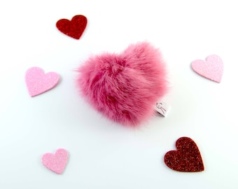 Heart Cat Toy, Catnip Toy, Heart Shaped Catnip Toy, Real Rabbit Fur Cat Toy