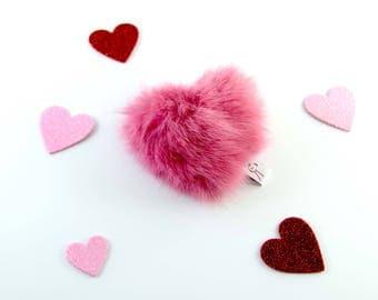 Heart Cat Toy, Valentine Catnip Toy, Heart Shaped Catnip Toy, Real Rabbit Fur Cat Toy