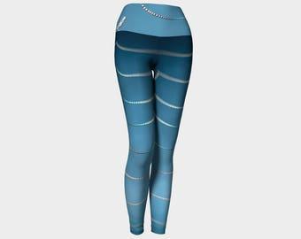 Yoga Pants, Fashion Leggings, Cob Web Leggings, Blue Yoga Pants, Spider Web Leggings, Digital Print Leggings, Nature Photo Leggings