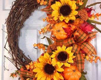 Oval Autumn Fall Natural Grapevine Wreath