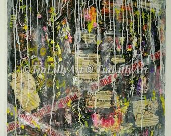 FRAGILE Original Large mixed media Painting