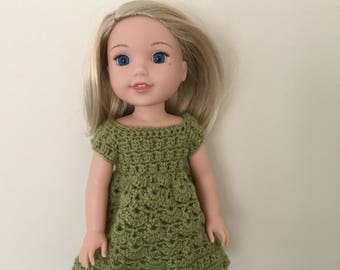 "Green dress for 14.5"" doll such as American Girl Wellie Wishers. Handmade, crocheted."