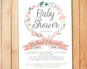 Floral Baby Shower Invitation - Print Yourself