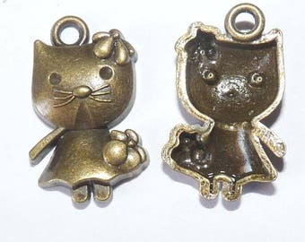 2 charms pussy cat bronze mouse kity in dress for feminine pendant for jewelry making