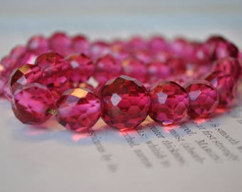 Antique Faceted Glass Necklace, 10k Chain - 1920s Art Deco Pink Glass Necklace, Flapper Style