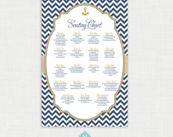 Nautical Baptism Seating Chart - Christening Seating Chart - Table Seating - Guest Seating