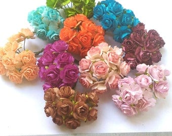 100 Mixed Colors  Mulberry Roses Paper  Flowers Mini   0.6 inch (18mm)  Bulk Price  Embellishment Scrapbooking Bulk Price #MIX-1