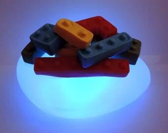 Multicolored stacked LEGO led night light