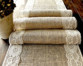 Natural Burlap Table Runner Wedding Table Runner with country cream lace rustic wedding party linens , handmade in the USA
