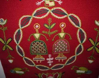 Cucurbits - Sweden -Tapestry - Wall Hanging - Wool - Embroidery - Mid Century - Scandinavian Design -