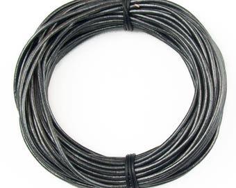 Gunmetal Metallic Gray Round Leather Cord 1.5mm 25 meters (27.34 yards)