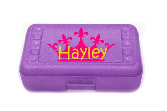 Princess crown Pencil box  pencil box Personalized Pencil Box Crayon Box Back to school supplies Monogram Pencil Box Monogram Office supply