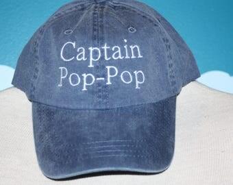 Custom Baseball Cap - Captain Pop-pop embroidered baseball cap - Great custom gift - baseball hat embroidered - personalized captain hat