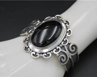 Vintage Mexico ATI Sterling Silver Oval Black Onyx Overlay Cuff Bracelet 53.5 grams