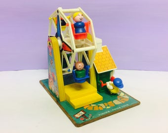 Vintage Fisher Price, Ferris Wheel, Little People, Play Family, Music Box, Carnival Ride, Vintage Toys, FP 969. Little People, 1970s 1980s