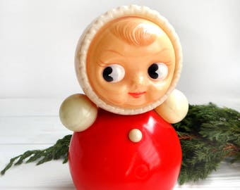 Roly Poly Ding Doll Soviet Sound Nevalyashka Vintage Celluloid Plastic toy tumbler Tilting doll Collectible Nursery Decor Musical Hug Doll