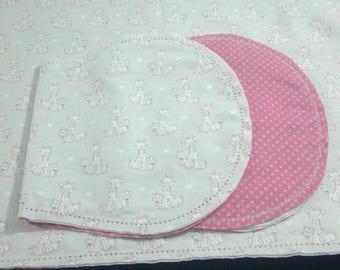 Giraffes and Ducklings with Pink Poke Dot Backing Hemstitched Baby Blanket and Burps ready for you to crochet by Lindas Hemstitching