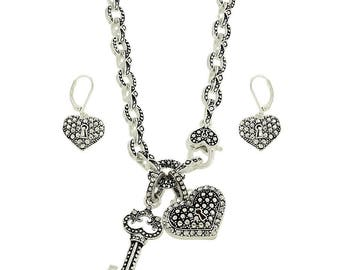 Filigree Crystal Heart Key Necklace Set