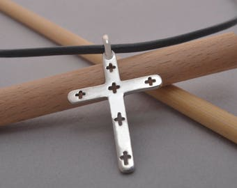 Sterling Silver Cross Necklace for Women or Men, Art Cross, Modern Christian Jewelry Gift of Faith, ST691