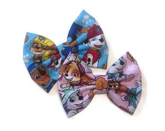Paw Patrol Bow | Fabric Bow | Handmade Hair Bow | Hair Clip | Headband