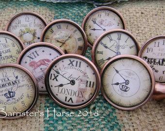 VINTAGE CLOCKS, Antique Copper 40mm Drawer Knobs, Cabinet Pulls, Furniture Handles