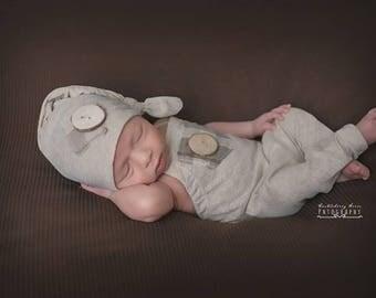 Newborn boy romper set photo outfit  romper and hat props newborn romper outfit cream neutral newborn  photography prop ready to ship!